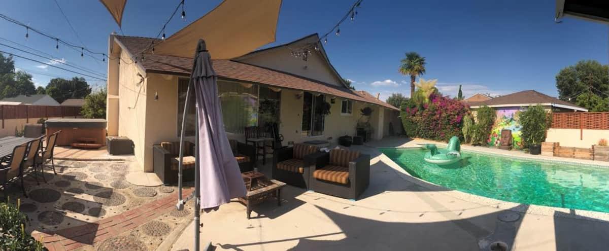 Chic Oasis Event Space, pool & hot tub in Balboa Lake Hero Image in Northridge, Balboa Lake, CA