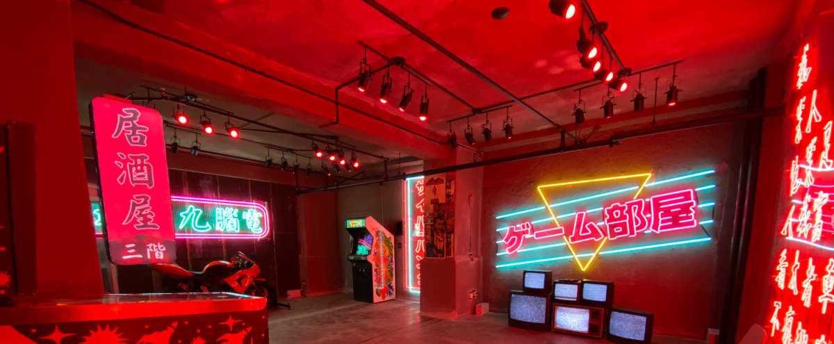 Downtown DTLA Post Apocalyptic Rustic Edgy Asian Chinese Japanese Red Room Neon Loft in Los Angeles Hero Image in Central LA, Los Angeles, CA