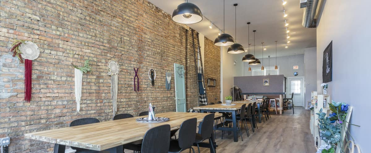 Creative Lakeview Studio | exposed brick + natural light for workshops + parties in Chicago Hero Image in Lake View, Chicago, IL