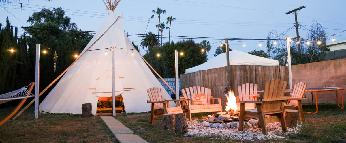 Tipi with Large Backyard and Fire pit in Mar Vista in Los Angeles Hero Image in Mar Vista, Los Angeles, CA