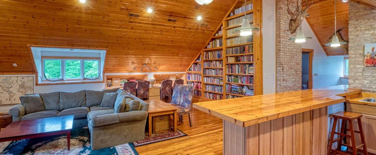 Renovated attic loft of 1894 mansion in close suburb near CTA, Metra, ORD and MDW in Riverside Hero Image in undefined, Riverside, IL