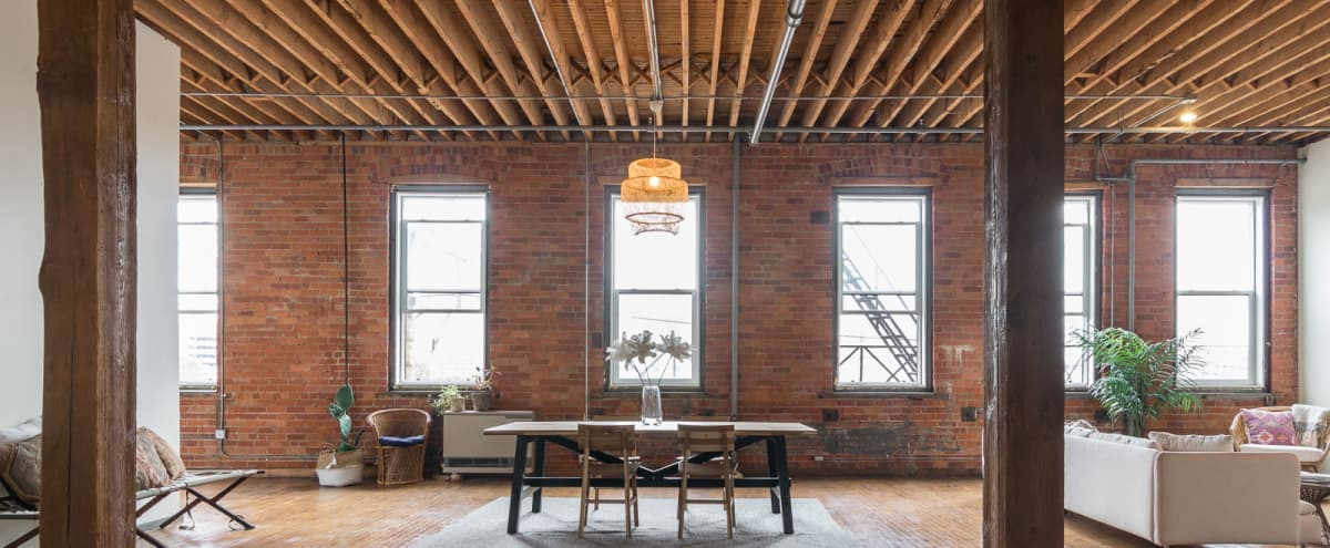 Meeting Retreat: Industrial-Chic by Definition ❤️ Loft with Downtown Detroit Views in Detroit Hero Image in West Side Industrial, Detroit, MI
