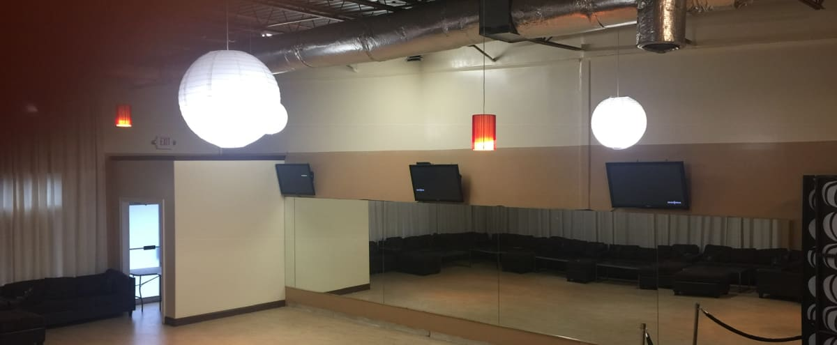 Contemporary West Midtown Dance Studio with High Ceilings, LED lighting, drapes, and stages! in Atlanta Hero Image in Buckhead, Atlanta, GA