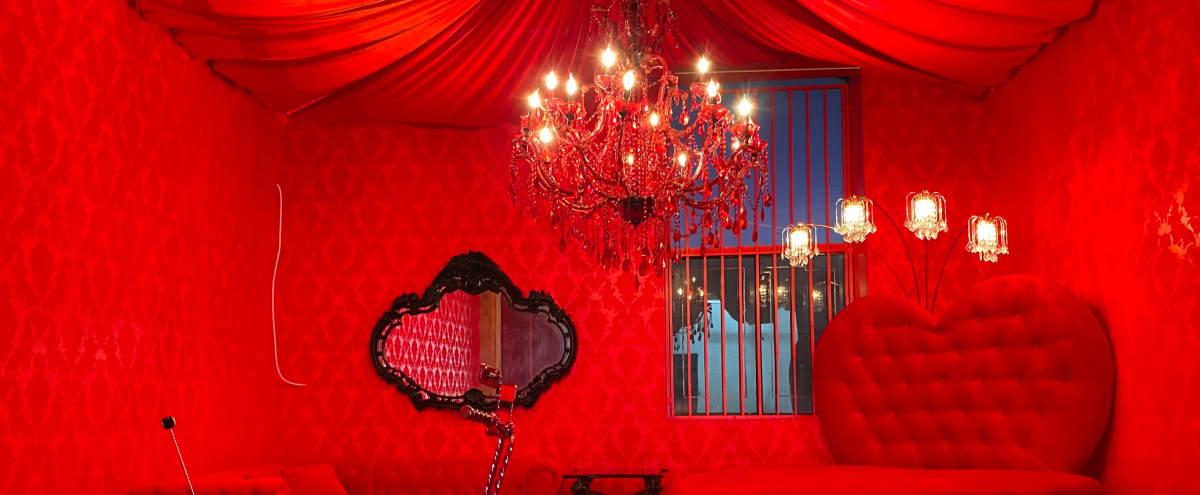 Downtown 70s RED retro room w/ Heart Bed in los angeles Hero Image in Central LA, los angeles, CA
