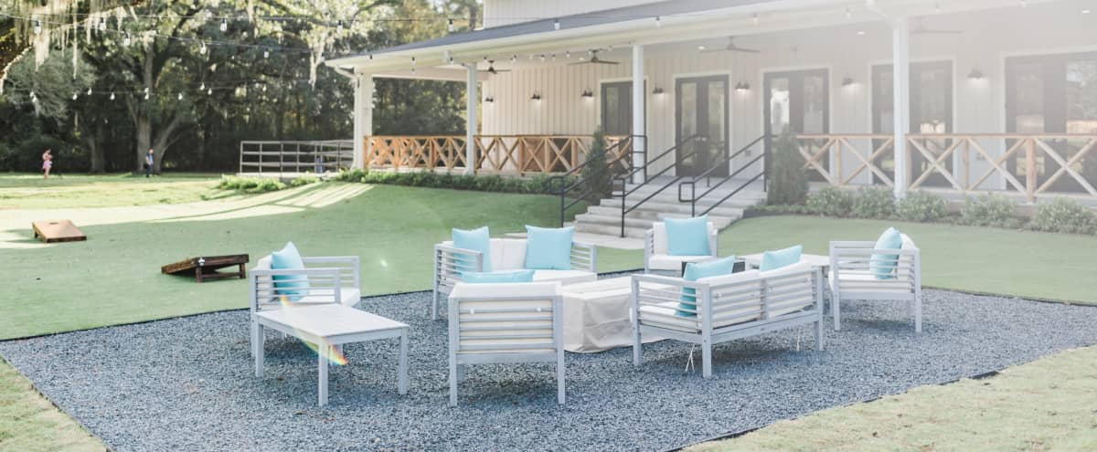 All White Modern Farmhouse Venue Surrounded by Oak Trees in Spring Hero Image in undefined, Spring, TX