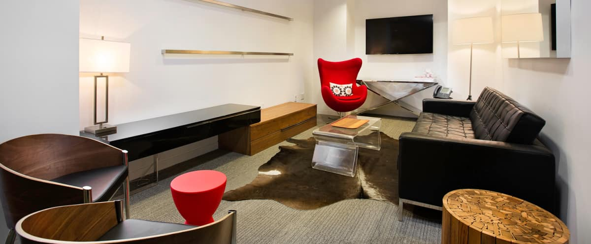 Stylish Lounge Meeting Room with TV in New York Hero Image in Midtown, New York, NY
