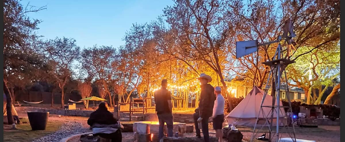 The ULTIMATE Outdoor Experience! Glamping In ATX - Fire Pits, Games, and Yes, Even Showers & Toilets in Austin Hero Image in La Hacienda Estates, Austin, TX