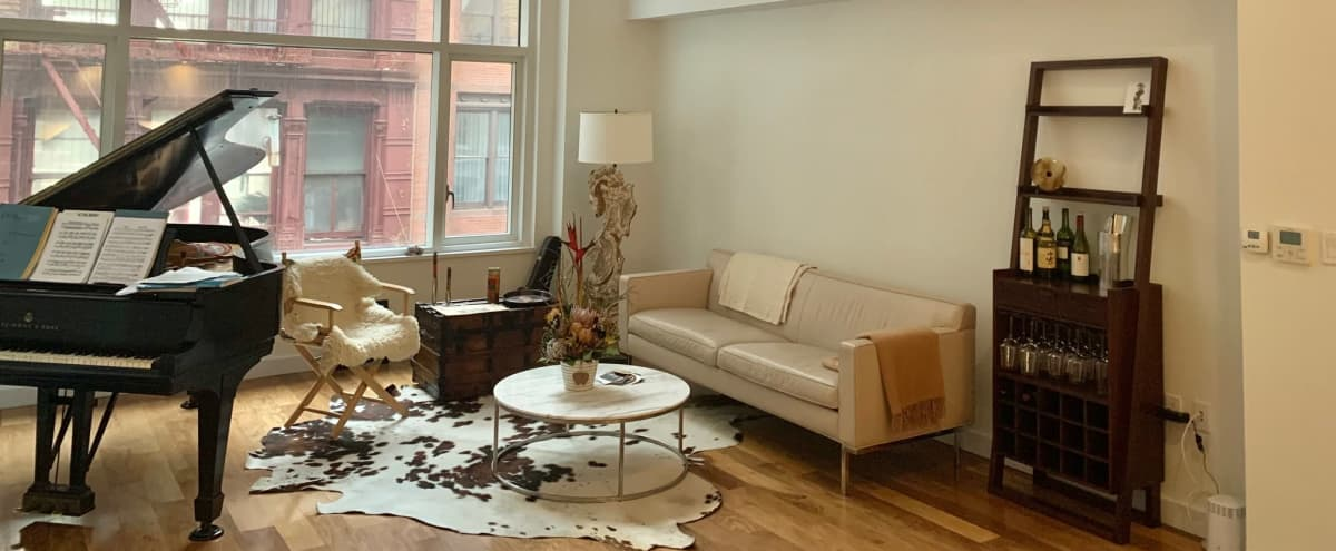 Tribeca Loft with 20 ft ceilings, and Steinway Piano in New York Hero Image in Chinatown, New York, NY