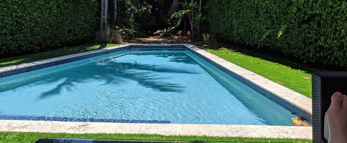 Outdoor Space with Uniquely Shaped Pool in Miami Beach Hero Image in La Gorce, Miami Beach, FL