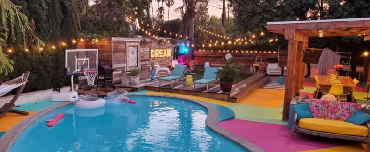 Dream Oasis Pool Backyard With String Lights in Winnetka Hero Image in Winnetka, Winnetka, CA