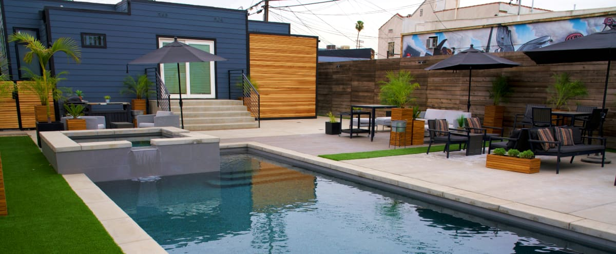 Blue House with the Green Door - Pool/Hot Tub/ Outdoor Projector in Los Angeles Hero Image in Central LA, Los Angeles, CA