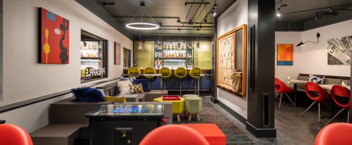 Quirky and Game-Centric Semi-Private Reception Space in Seattle Hero Image in Belltown, Seattle, WA