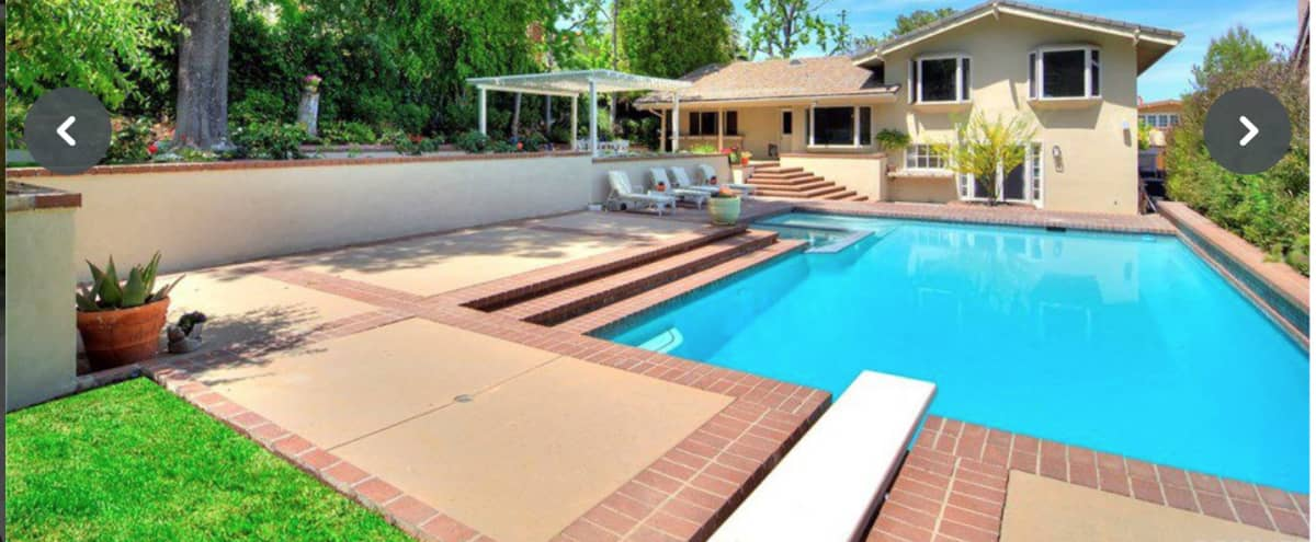 COVID SAFE SHOOTING -  Space for 15-20  6' tables  - 6' apart for lunch and meals. - Amazing Home with Updated Kitchen - Pool - Bedrooms. in Tarzana Hero Image in Tarzana, Tarzana, CA