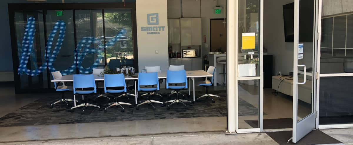 Downtown LA Office Space and Outdoor Patio with Bistro Lighting - Event Space with MultiMedia Storytelling LED Glass Wall Installation Display. Great for panels, corporate events, meetings, photoshoots, and networking events! in los angeles Hero Image in undefined, los angeles, CA