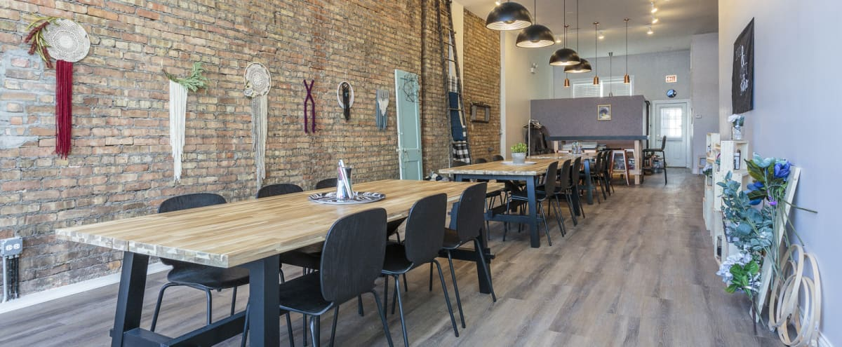 Creative Lakeview Meeting Space | exposed brick + flexible layout + projector in Chicago Hero Image in Lake View, Chicago, IL