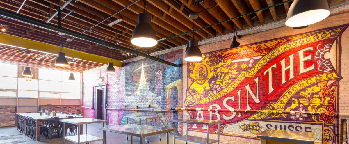Large Industrial Space with Murals and Commercial Kitchen in Logan Square in Chicago Hero Image in Belmont Cragin, Chicago, IL
