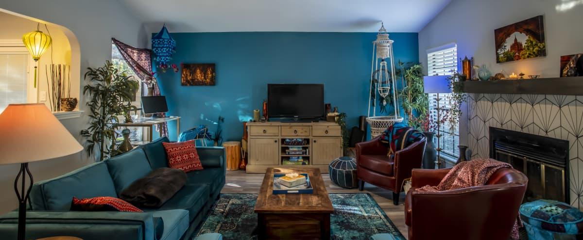Big Blue Portrait House in Austin Hero Image in Woodstone Village, Austin, TX