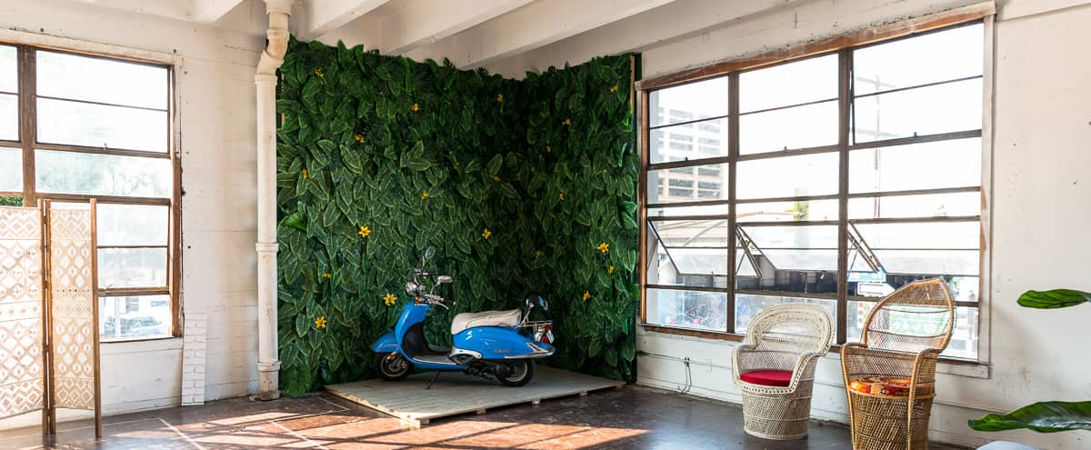 Hill 4 - Jungle Themed Stage with Scooter, Tropical Wall, Woven Chairs and Textured Walls in Los Angeles Hero Image in Downtown, Los Angeles, CA