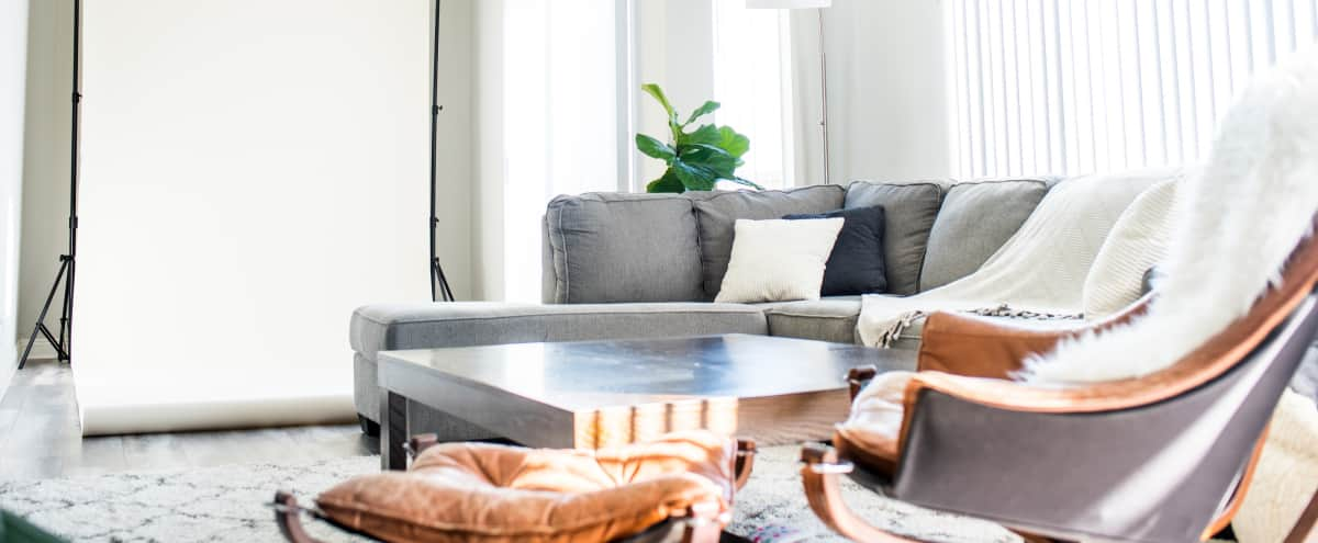 Modern West LA Studio + Apartment Space with Great Natural Light. Backdrop setup + Beautiful Apartment Common Area for Lovely Lifestyle Shoots in Los Anegles Hero Image in Palms, Los Anegles, CA