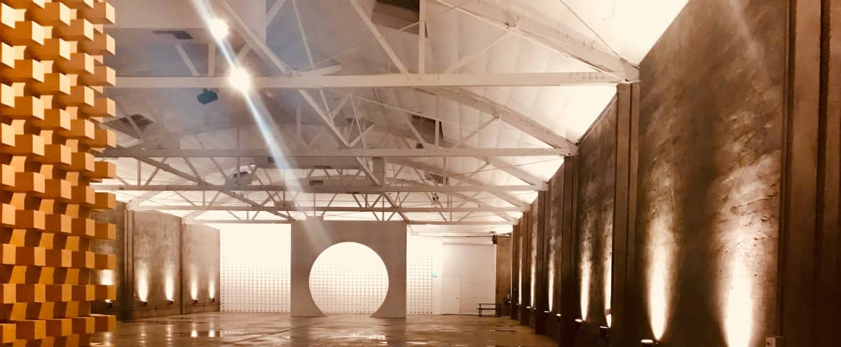 DTLA Concrete Architectural Open Massive Warehouse with Gold, White, Blue & Circular Textural Elements in Vernon Hero Image in undefined, Vernon, CA