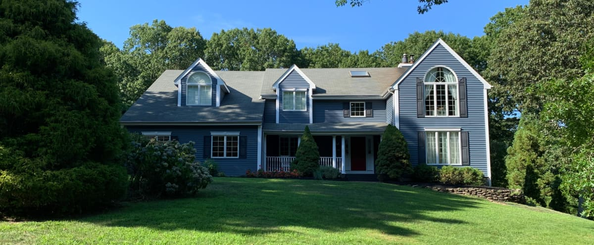 North Shore Long Island Blue Post-Modern Colonial Home with Pool in Northport Hero Image in undefined, Northport, NY