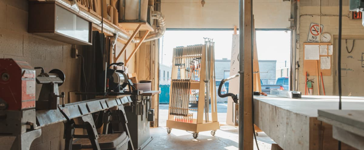 Fully Equipped Functional Industrial Woodworking Studio in Toronto Hero Image in Islington - City Centre West, Toronto, ON