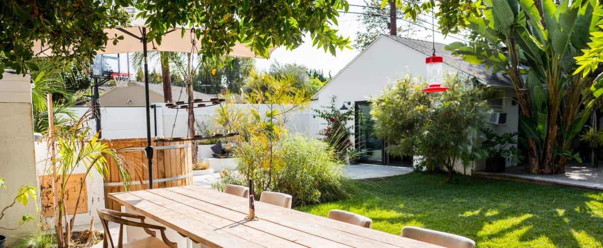 Incredible outdoor space, perfect for filming during Covid.  Chez Lister; A Mid century home and yard with fire pits, spa and bar located on the Westside. in Los Angeles Hero Image in Mar Vista, Los Angeles, CA