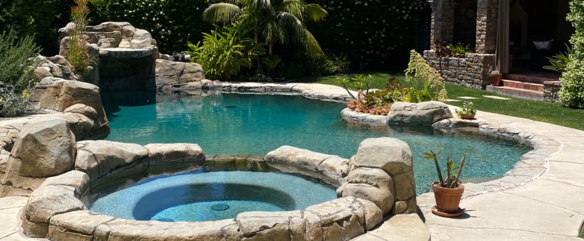 Beautiful Mediterranean Front Yard & Backyard with Pool & Fireplace in Laguna Hills Hero Image in undefined, Laguna Hills, CA
