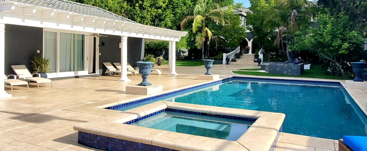 Luxurious, Dreamy Villa | Pool, BBQ, Billiard Lounge, Floral Terrace, and Basketball Court in Valley Village Hero Image in Valley Village, Valley Village, CA