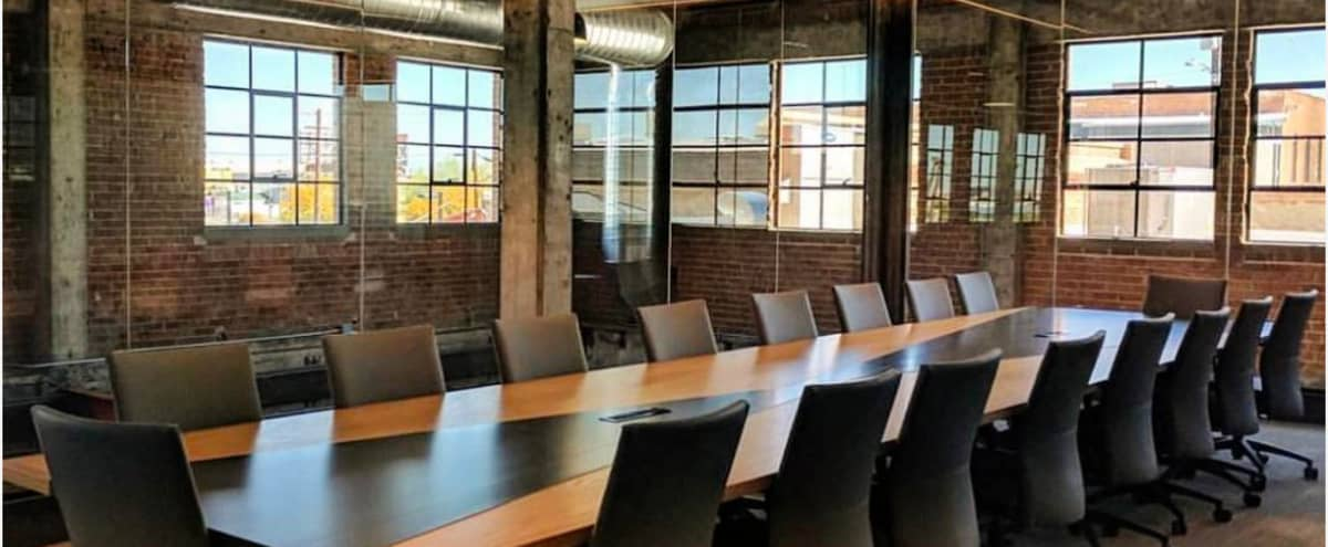 Modern and Chic Meeting Room For 9 in Industrial Co-Working Space in Phoenix Hero Image in Central City, Phoenix, AZ
