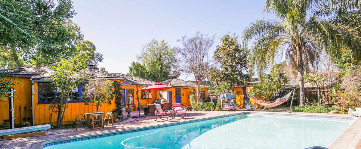 Charming Bright Backyard & Heated Pool for workshops, Swimming Puppies Therapy, classes or Luncheons in Studio City Hero Image in Studio City, Studio City, CA