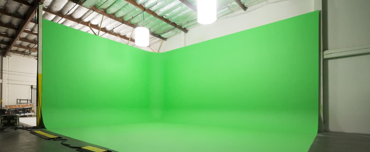 7,000 sq ft Production Studio in Glendale with 25 ft High Green Screen & White Cyc Wall in los angeles Hero Image in Northeast Los Angeles, los angeles, CA