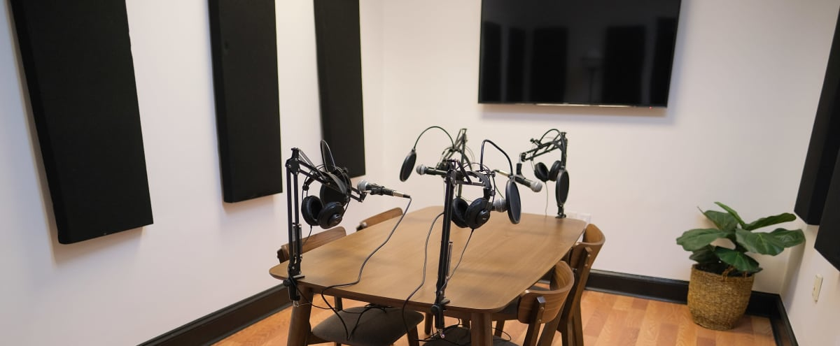 """Podcast & Meeting Studio [Free In-House Equipment + Multiple Cameras + Colored Uplights + 50"""" TV screen for visuals] in Atlanta Hero Image in undefined, Atlanta, GA"""