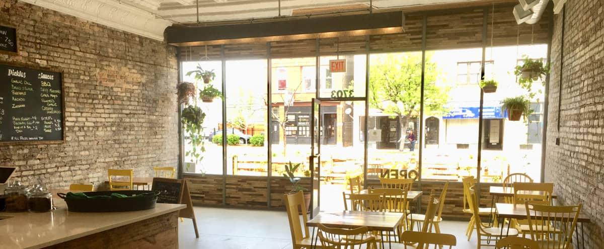 West Logan Restaurant with Industrial DIY Interior & Rustic Garden in Chicago Hero Image in Logan Square, Chicago, IL