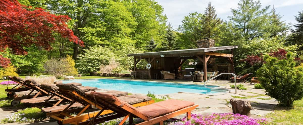 "Come enjoy the ground, ""Summer Weekday Spa Retreat"" Pool + Hot tub + Sauna + Hiking and more within 1 hr of NYC in Garrison Hero Image in Garrison, Garrison, NY"
