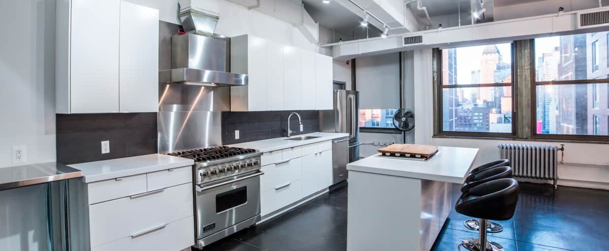 Midtown White Industrial Studio with Full Kitchen in New York Hero Image in Midtown, New York, NY