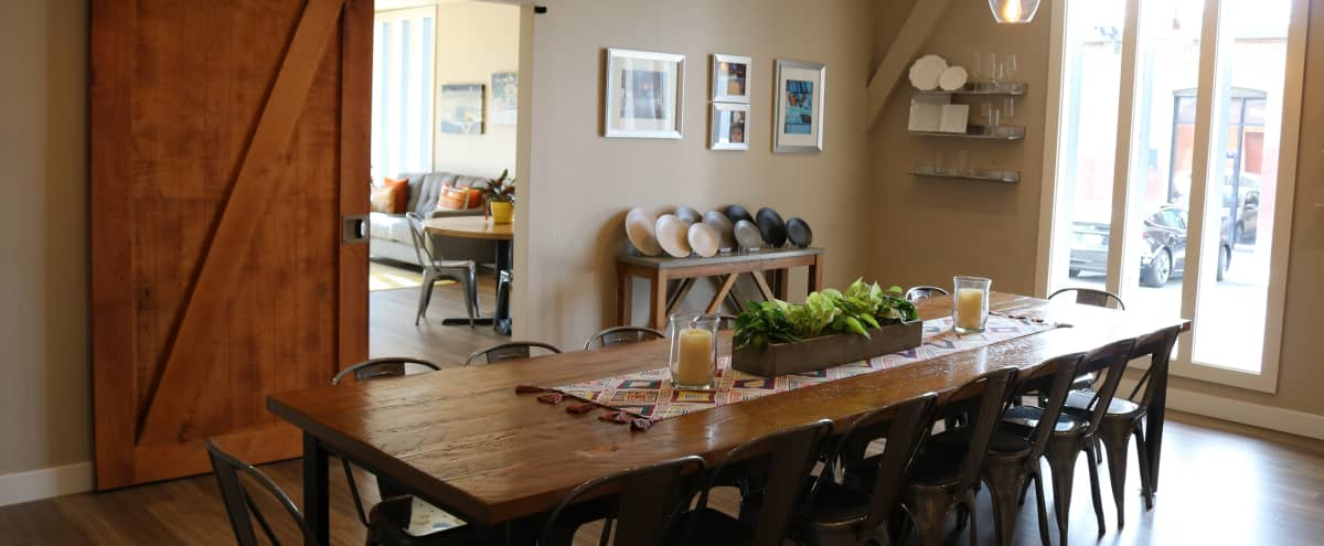 Dining/Tasting Room, Lobby, Indoor/Outdoor Patio, & Breakout Options in Oakland Hero Image in East Peralta, Oakland, CA