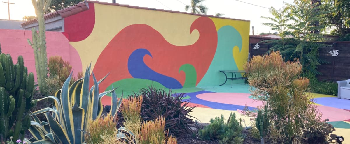 Colorful Mural Wall and Patio in Los Angeles Hero Image in South Los Angeles, Los Angeles, CA