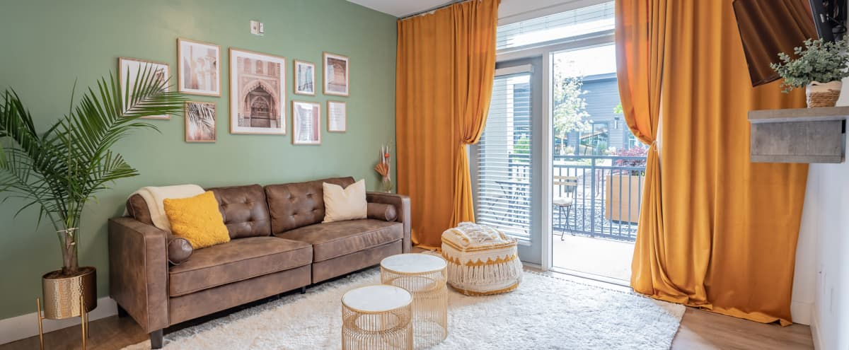 Midtown Bohemian Modern Apartment with Porch and Courtyard use, Airy and Open in Atlanta Hero Image in Old Fourth Ward, Atlanta, GA