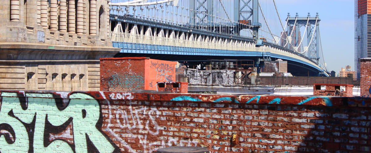 DUMBO ROOFTOP - Brooklyn Street Art - with Incredible views overlooking NYC and the Manhattan & Brooklyn Bridges HOLDING INCLUDED!! in Brooklyn Hero Image in Dumbo, Brooklyn, NY