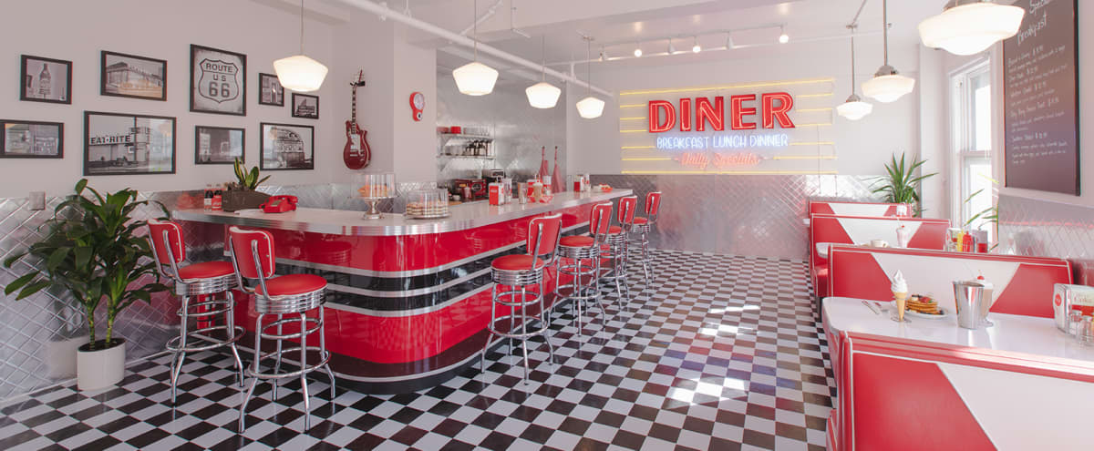 Spacious Downtown Sun Drenched 50s Retro Neon Diner Restaurant Cafe Studio with New York Style City View DTLA in Los Angeles Hero Image in Central LA, Los Angeles, CA