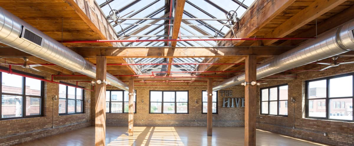 Historic Beautiful Brick & Timber Industrial Loft w/ Breath-taking Skyline Views in Chicago Hero Image in West Town, Chicago, IL
