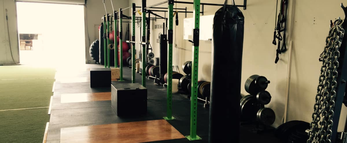 Fitness gym in light industrial warehouse signal hill ca