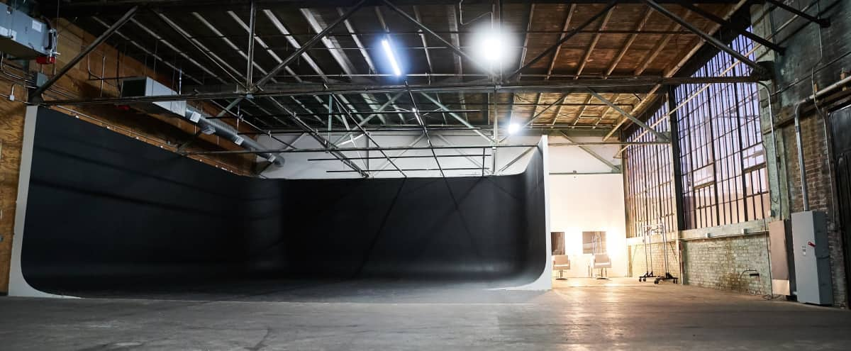 Huge 3 Wall Cyclorama Stage in Los Angeles Warehouse in Los Angeles Hero Image in South Los Angeles, Los Angeles, CA