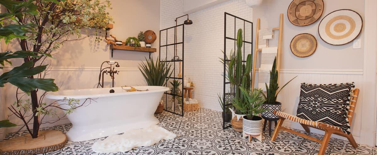 Downtown Farmhouse Bohemian Bathroom with Bathtub in Los Angeles Hero Image in Central LA, Los Angeles, CA