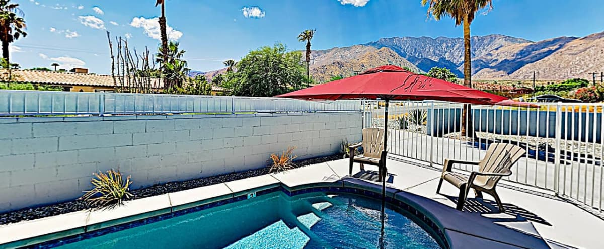 Courtyard Desert Home with Mountain View in Palm Springs Hero Image in Racquet Club West, Palm Springs, CA