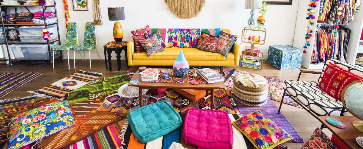 Colorful Zen in a DTLA Art's District Boho-Chic Textile Showroom Loft in Los Angeles Hero Image in Central LA, Los Angeles, CA
