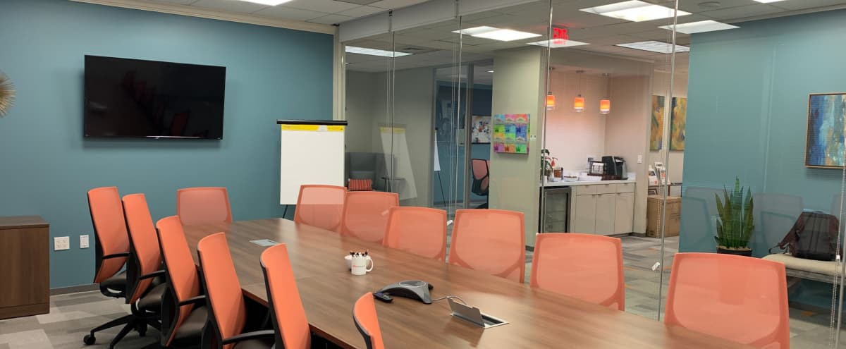 Private Meeting Room with Multiple Visual Presentation Capabilities in Houston Hero Image in Briarforest, Houston, TX