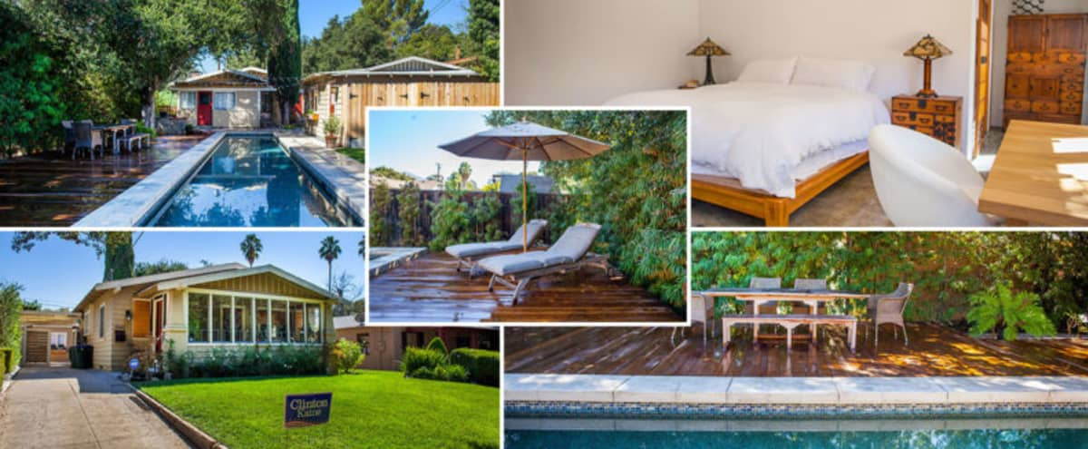 Serene Contemporary Japanese Style Guesthouse with Lap Pool and Redwood Deck in Pasadena Hero Image in Pasadena, Pasadena, CA