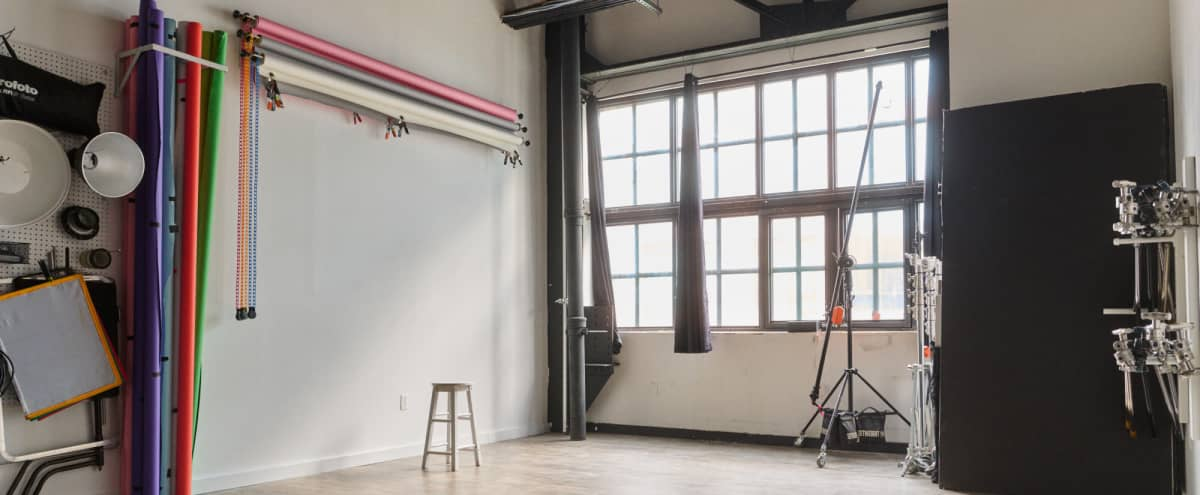 Spacious High Ceiling Natural Light Studio w/ Gear Included in Brooklyn Hero Image in Greenpoint, Brooklyn, NY